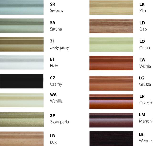Kolory profili stalowych
