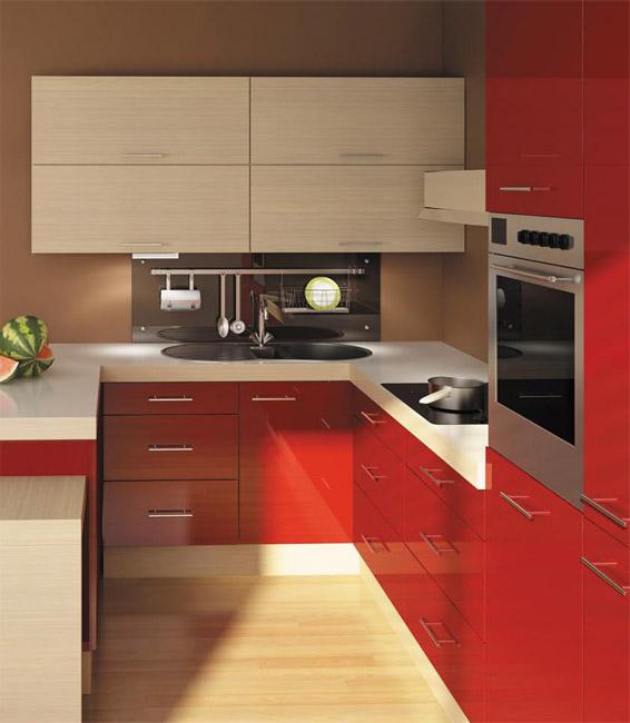 meble kuchenne bia�o czerwone nowoczesna zabudowa kuchenna