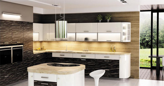 Modern Apartment Kitchen Image Oppein Project Low Price   -> Kuchnia Meble Brazowe